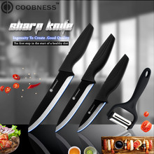 цена на COOBNESS Brand 4 Piece Set Kitchen Knife 3 4 5 6 Black Blade Ceramic Knife And Multifunction Peeler Cooking Accessories set
