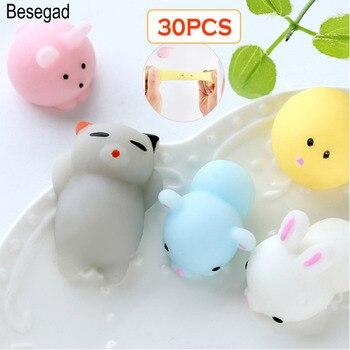 Besegad 30PCS/ Lot TPR Kawaii Cute Cat Panda Bear Rabbit Chick Squishy Squeeze Cartoon Healing Fun Toy Relieves Stress Anxiety