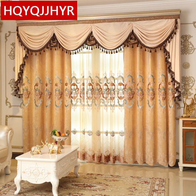 European Luxury Villa Fleece Embroidered Blackout Curtains For Living Room Sheer Kitchen Window Curtain