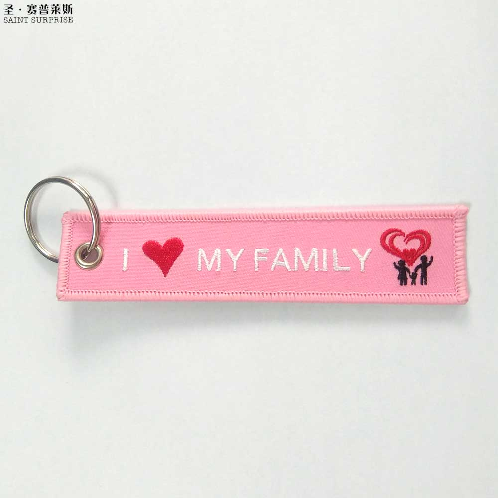 2pcs Luggage Tag Label Flight fabric Keychain Car Motorcycle Embroidered Canvas I Love My Family Chaveiro Key Chain for Mens