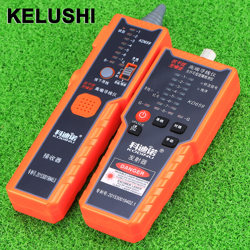 KELUSHI KD659 Cable Tester anti-jamming noise-free high-end network line-Finder  engineeringred light source line kd 1 network cable installation tool white grey