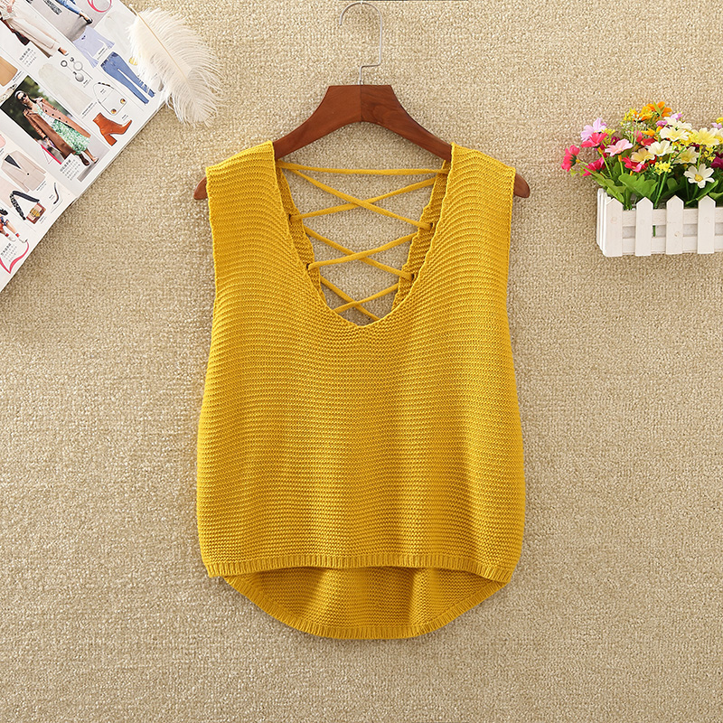 Back Bandage Knitted Crop   Top   Women Short   Tank     Top   2019 Summer Casual Sleeveless V-Neck Korean Fashion Loose Vest Camisole Femme