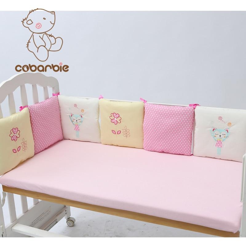 6-14Pc / Lot Spædbarn Crib Bumper Bed Protector Baby Børn Bomuld Cot Nursery Sengetøj Pink Cat Square Shape Pude til pige