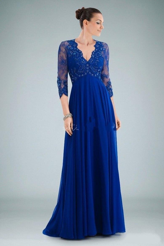Vestido de festa azul royal longo com renda