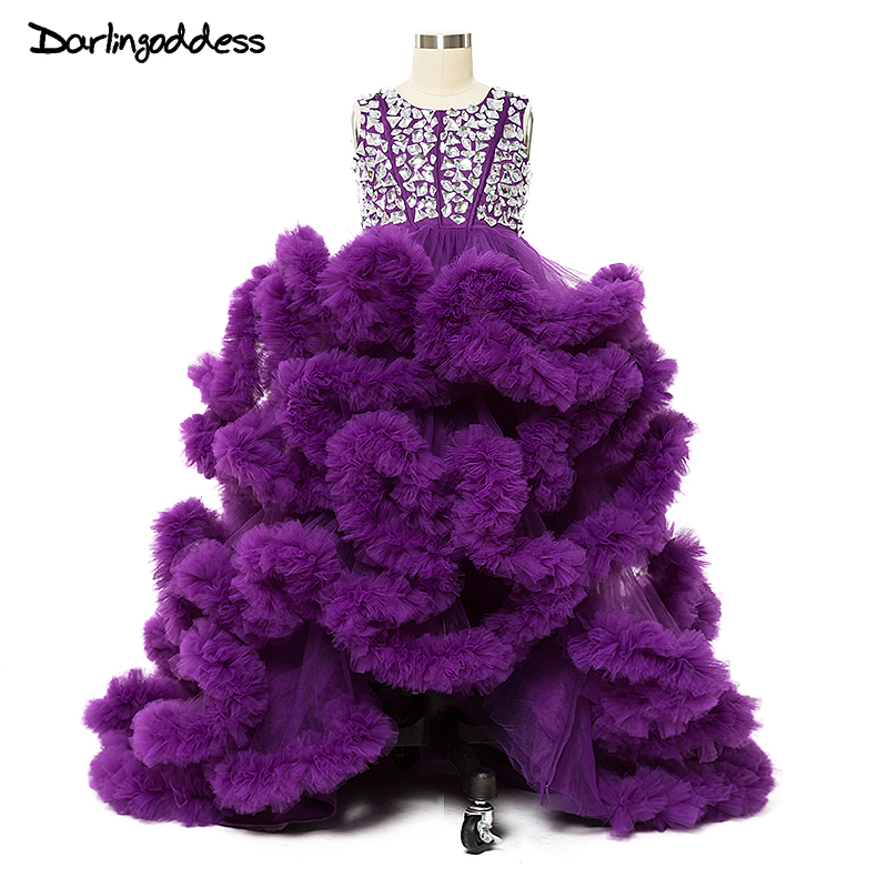 2017 Purple Cloud Little   Flower     Girls     Dresses   for Weddings First Holy Communion   Dresses   for   Girl   Kids Formal Party Prom   Dress