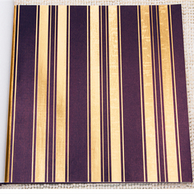China Supplier Luxurious Stripe Pattern Brown Golden Color Wallpaper Roll For Living Room Bedroom Gold Foil