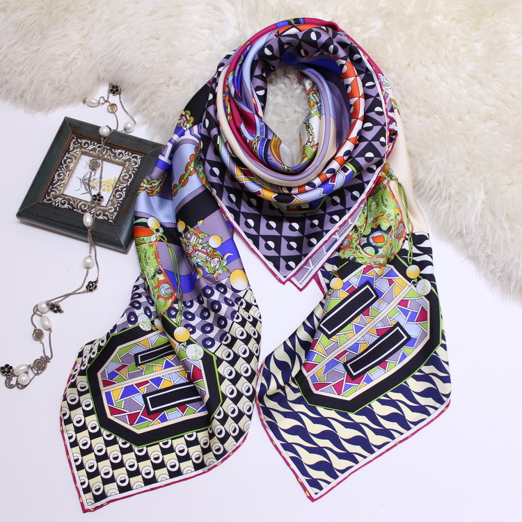 Real Silk Twill Large Square   Scarf   Women Luxury Shawl Hijab Coat   Wraps     Scarves   Foulard 140*140cm