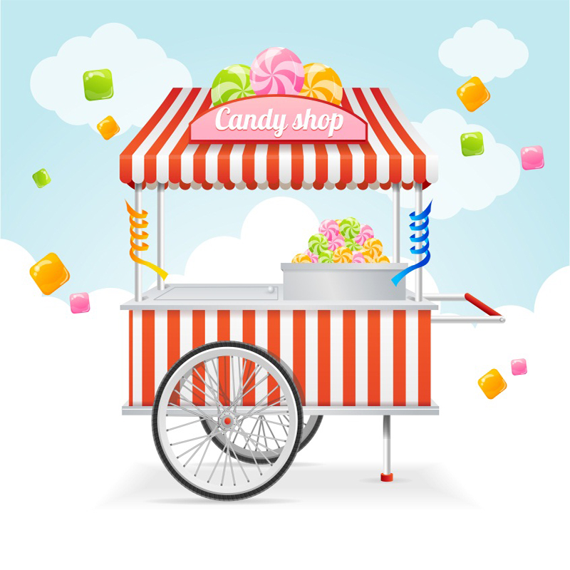Laeacco Candy Shop Booth Cartoon Baby Child Scenic Photography Backgrounds Customized Photographic Backdrops For Photo Studio