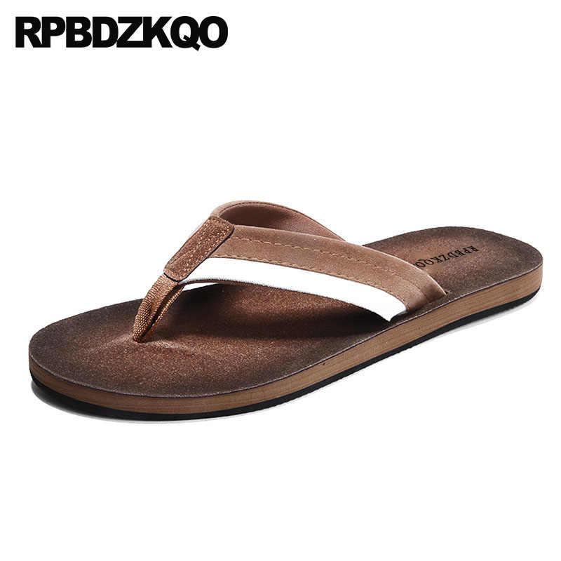 bd235779f34a Water Mens Sandals 2018 Summer Outdoor Soft Fashion Brown Slippers Beach  Striped Slip On Native Shoes