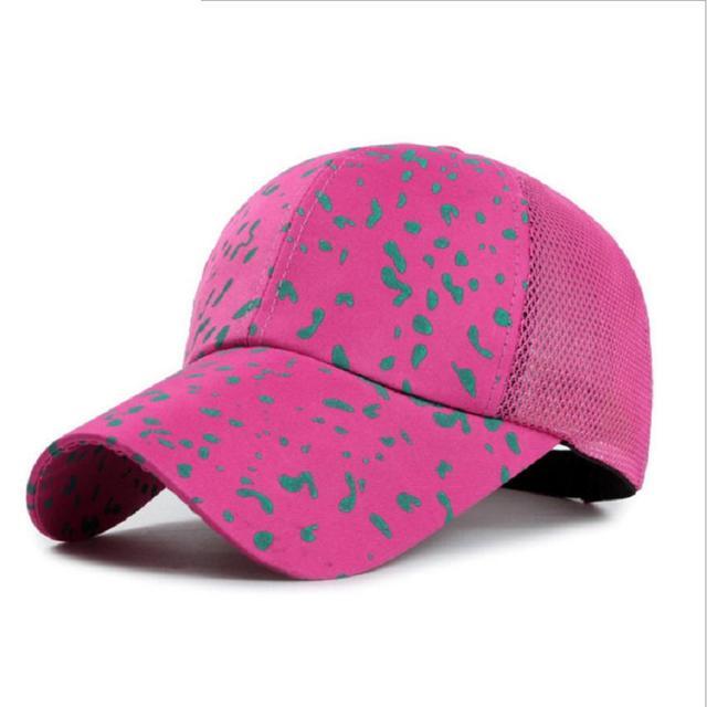 BooLawDee Women men summer print mesh cap breathable cool feeling adjustable nylon fastener tape snapback various color 4K003