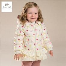 DB3980 дэйв белла зима детские пальто новорожденных девочек яблоко отпечатано вниз пальто на вате девушки белая утка вниз перо пальто
