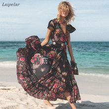 Laipelar 2018 New Women Summer Boho Beach Maxi Dress Sexy V Neck Vintage Print Long Dresses Casual Sundress Dress vestidos