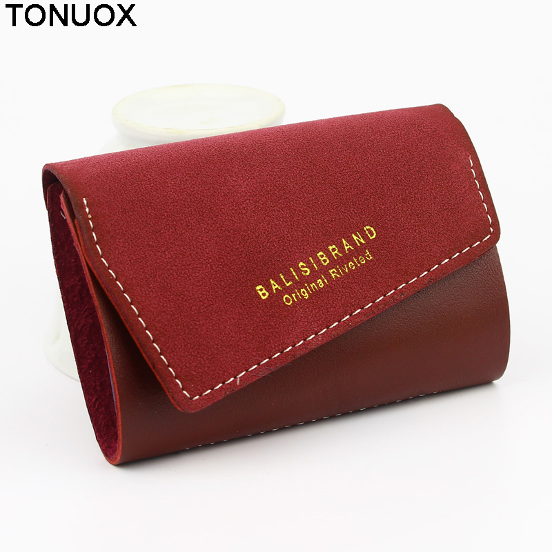 Women Cards Holder Brand Design Retro PU Leather Hasp 20 Cards Buckle Business Credit Bank Cards Holder Candy Colors Lady Purse