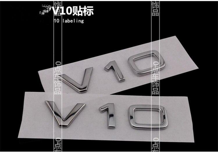 2pcs Car Chrome Badge Emblem OEM quality 'V10' for Audi R8 A6 S6 A8 S8 Avant Quattro