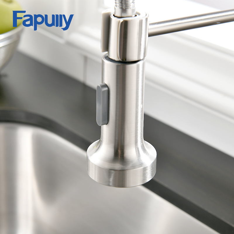 Fapully Deck Mounted Hot and Cold Water Kitchen Faucet Nickel Brushed Spring Pull Down Spray Spout Kitchen Mixer Tap AEF0017 good quality brushed nickel kitchen faucet deck mounted hot and cold water pull out sstream sprayer spout kitchen mixer tap