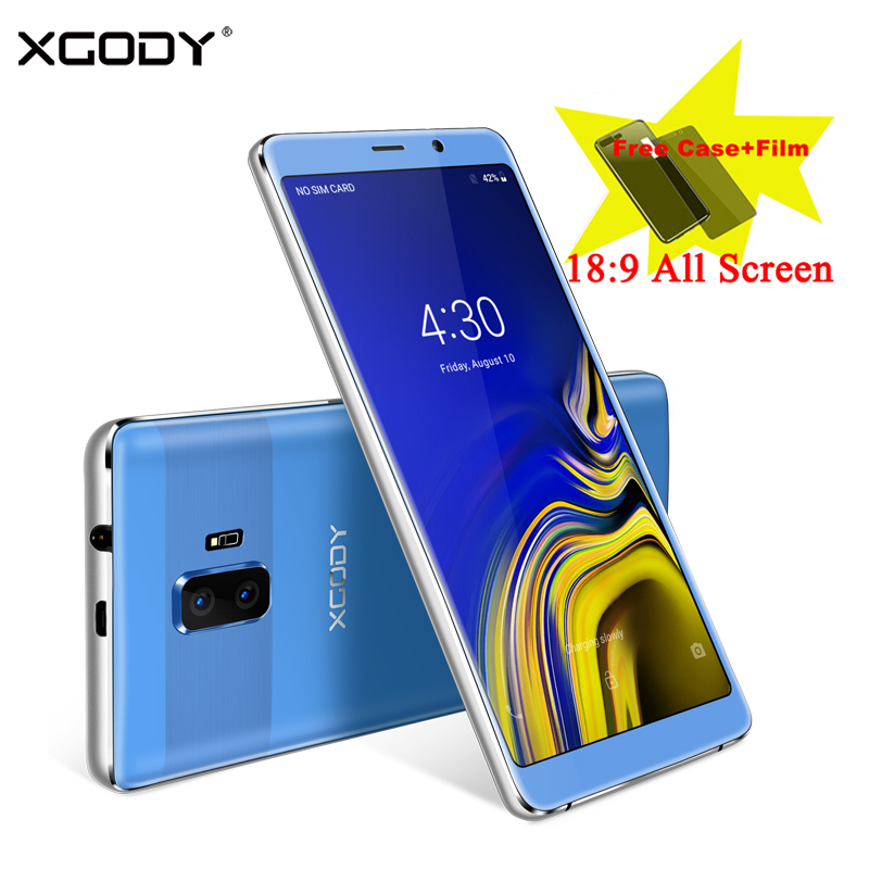 XGODY 3G Dual Sim Celular Smartphone 6 Inch 18:9 Full Screen Mobile Phone Android 8.1 Quad Core 1GB+8GB GPS WiFi 5.0MP Cellphone