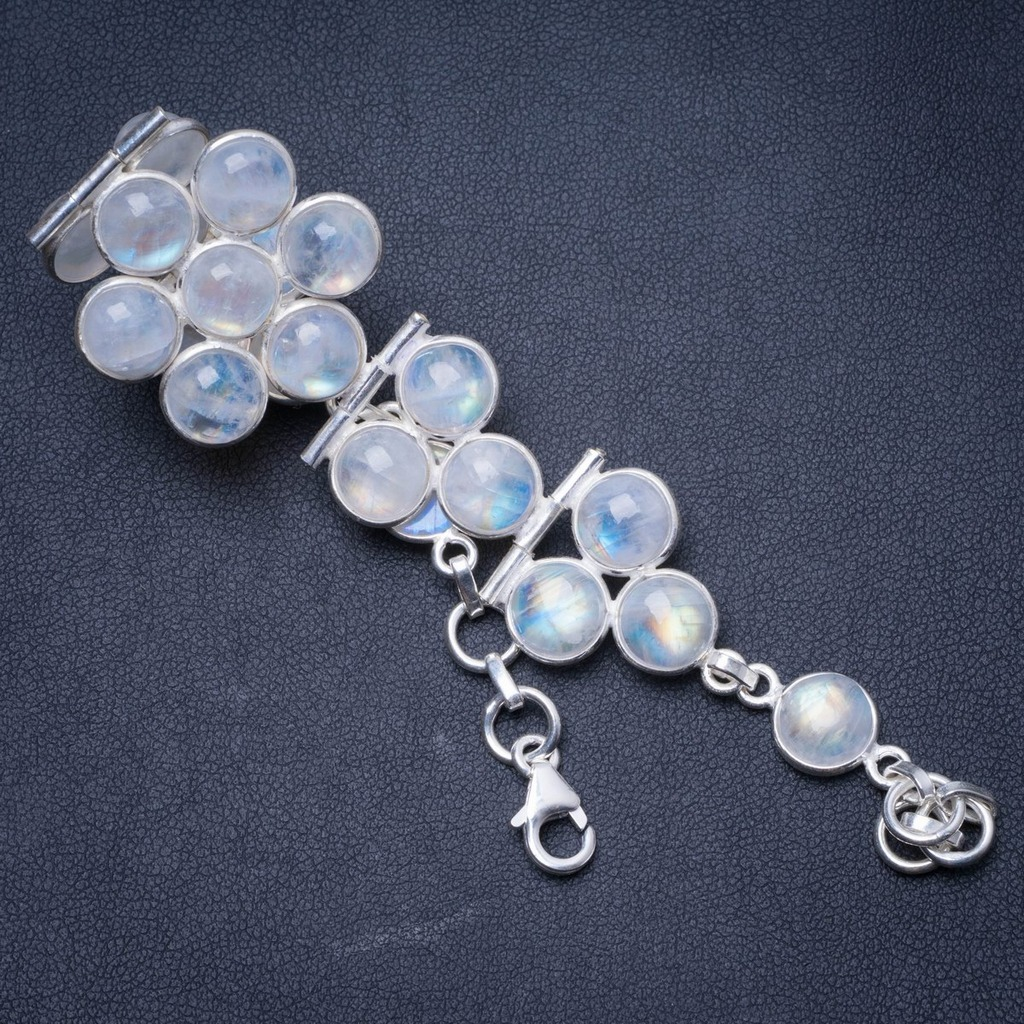 Natural Rainbow Moonstone Handmade Unique 925 Sterling Silver Bracelet 7 1/4-8 Y0849Natural Rainbow Moonstone Handmade Unique 925 Sterling Silver Bracelet 7 1/4-8 Y0849