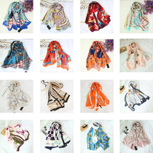 купить New Luxury 100% Silk NEW Bandana Floral Printed Scarves Women Long Floral  Satin Scarf 180*90 Shawl  Poncho Mother's Gift Wrap в интернет-магазине