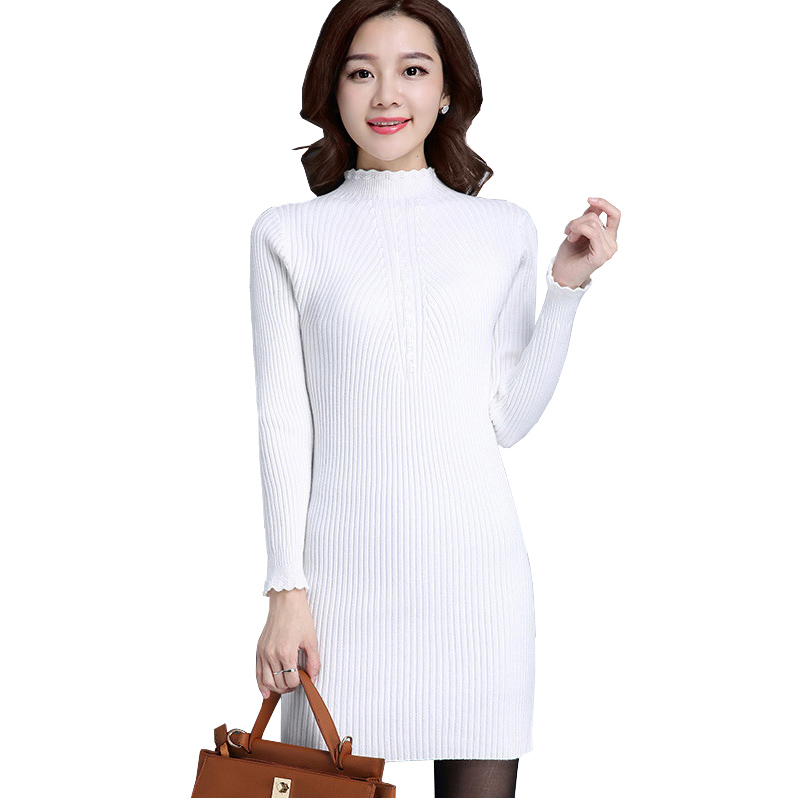 Ladies Cheap Winter Sweaters Dress Lace Trim Long Sleeve Bodycon Knitted Pullover Sweater Dress High Neck Cable Knitting Sweater