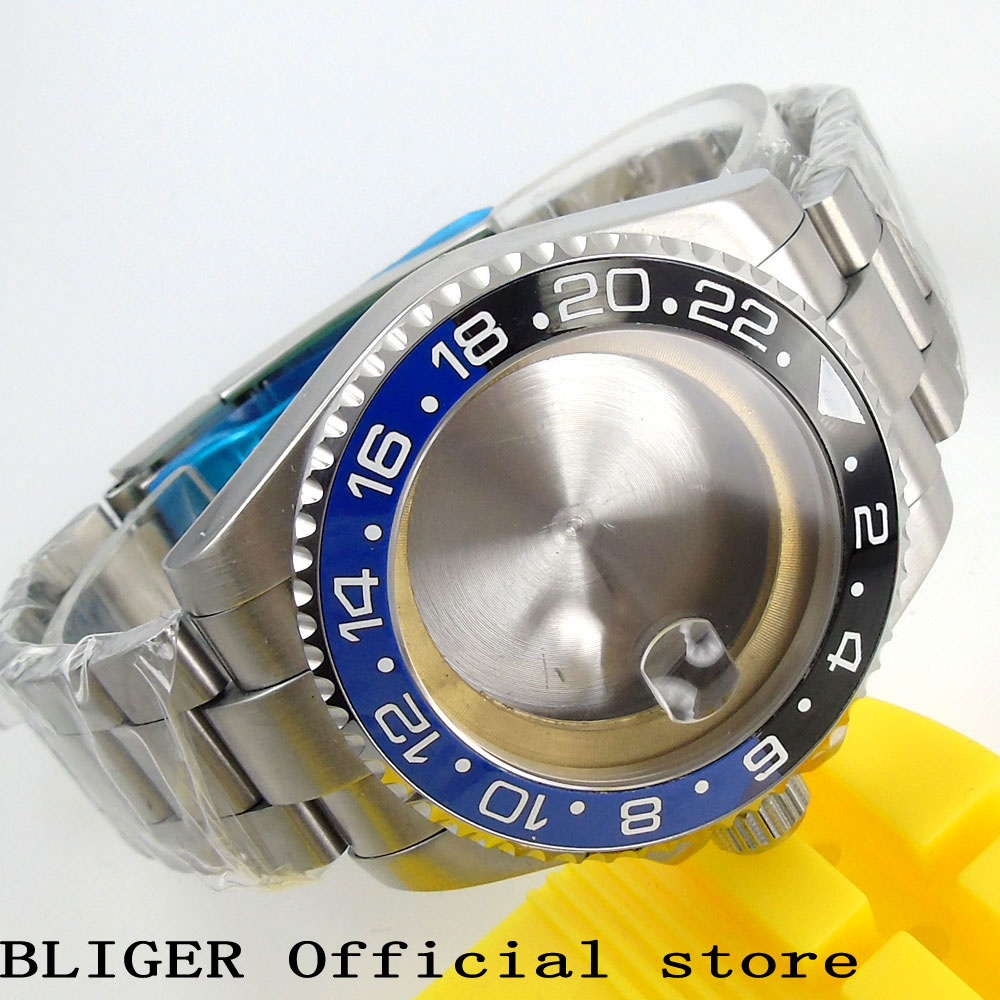 Solid BLIGER 43MM Stainless Steel Case Blue Black Ceramic Bezel Sapphire Crystal Watch Case Fit For ETA 2824 2836 Movement C58 c58