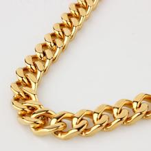 9/11/13/15mm Wide Strong Men Cuban Curb Link Chain Stainless Steel Bracelet/Necklace High Polishing Gold Tone 7-40inch