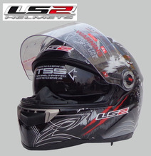 Free shipping genuine LS2 FF396-10 dual lens glass strip balloon racing motorcycle helmet full helmet / Gray Wolf Totem