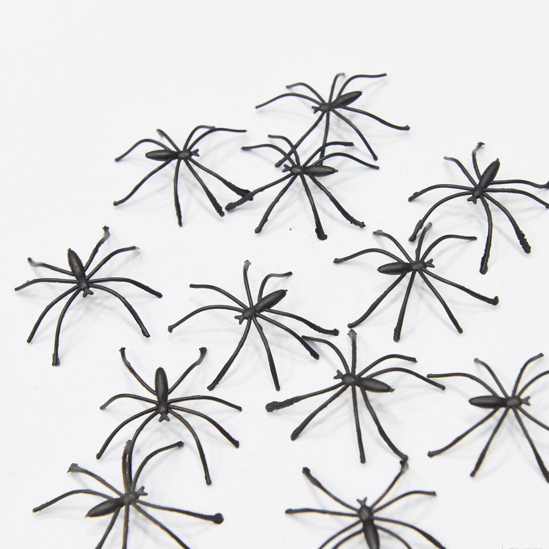 Decor Modern 20pcs 4cm Halloween Plastic Black Spider Realistic Prank Joking Toys home Decoration Cheap