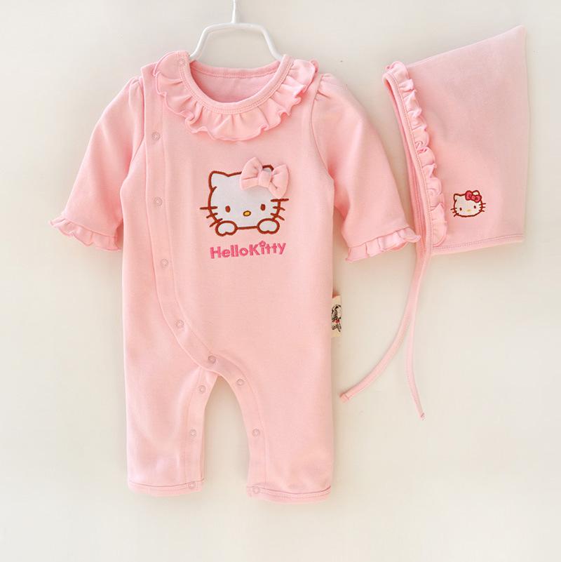 HTB1a5QqJFXXXXaiaXXXq6xXFXXXb - 2 Pcs Newborn Girl Organic Cotton Hello Kitty Romper Set Baby Cute Pink Jumpsuit with Hat New Born Ruffled Collar Bowknot Outfit