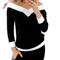 Women S Shirt Tunic Fashion Women Strapless Long Sleeve Off Shoulder Tops Pullover Patchwork Blouse Blusas