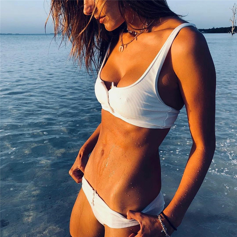 Kmnovo White Bikini Sexy Swimsuit Halter Swimwear Women Bathing Suit White Bikini Set Girl Cute Beach Wear Dropshipping Monokini 1