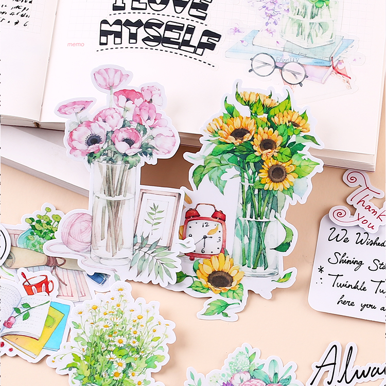 16pcs Creative Cute Self-made Plant Flower Set Afternoon 2 Painted Scrapbooking Stickers/decorative  /DIY Craft Photo Albums