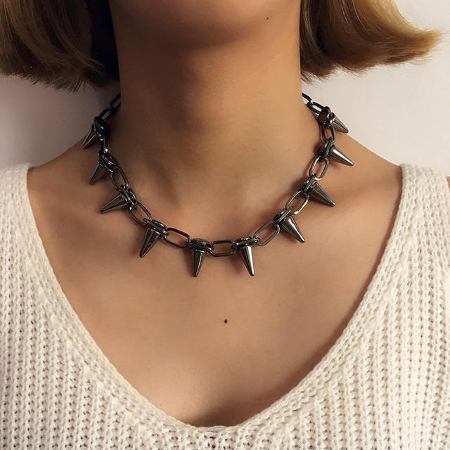 Rivets CBB material Chokers Punk Goth Handmade Choker Necklace Silver Spike Rivet Necklace EMO Rock Gothic Chocker 1