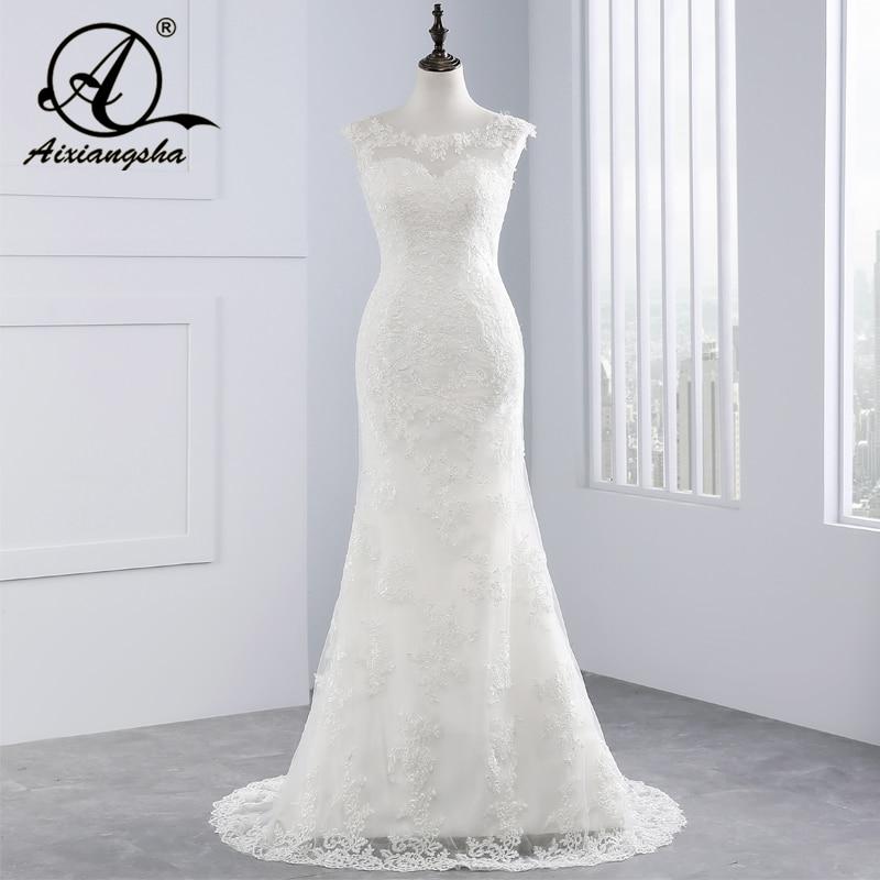 2018 Wedding Gowns Vestido De Novia Lace Wedding Dress Court Train Appliques Mermaid Wedding Dresses Elegant Bride Dresses