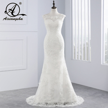 2018 Vestidos de Casamento Vestido De Novia Lace Vestido de Casamento Tribunal Trem Apliques Sereia Vestidos de Casamento Elegante Vestidos de Noiva