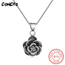 2018 Rushed Promotion Pendant Necklaces Trendy Collier Sautoir Long Concho Jewelry 925 Sterling Flowers Necklace For Women
