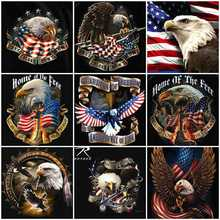 HUACAN 5d Diamond Painting Eagle Embroidery Icons Flag Full Square Mosaic Picture Of Rhinestone Resin Drill