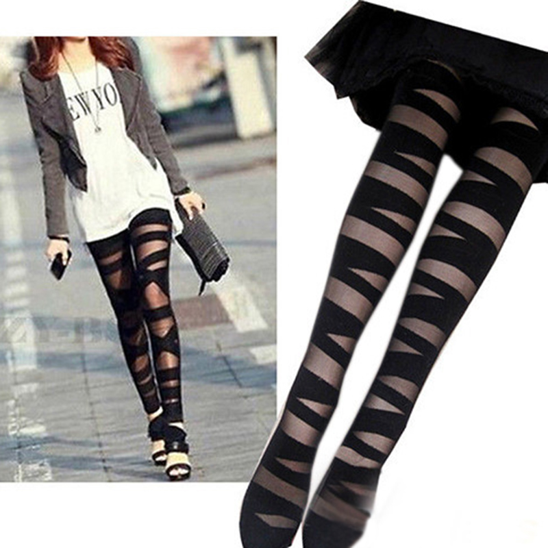 Buy New Stylish Fashion Women Sexy Pantyhose Black Ripped Stretch Vintage Tights Mock Stocking Accessory Good Quality