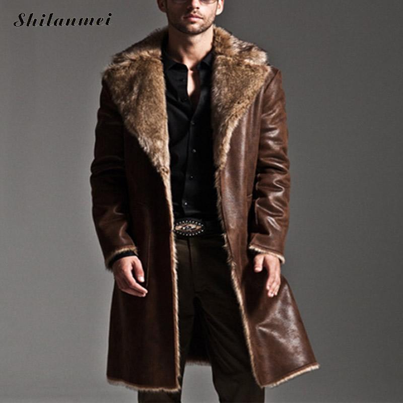 2018 зима Двусторонняя Мужская пальто из искусственного меха пальто куртки полной длины парка пальто Эркек Мон casaco masculino Большие размеры S-7XL