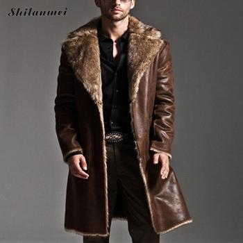 2018 Winter Reversible men's overcoat Faux Fur Coat Jackets Full Length Parka Coats erkek mont casaco masculino plus size S-7XL