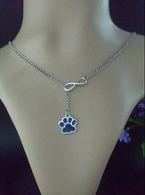 Hot New Fashion Jewelry Vintage Silver Good luck 8 Enamel Dog Cat Paw Pendant&Necklace Choker Jewelry For Women Gift 12pcs D148(China)