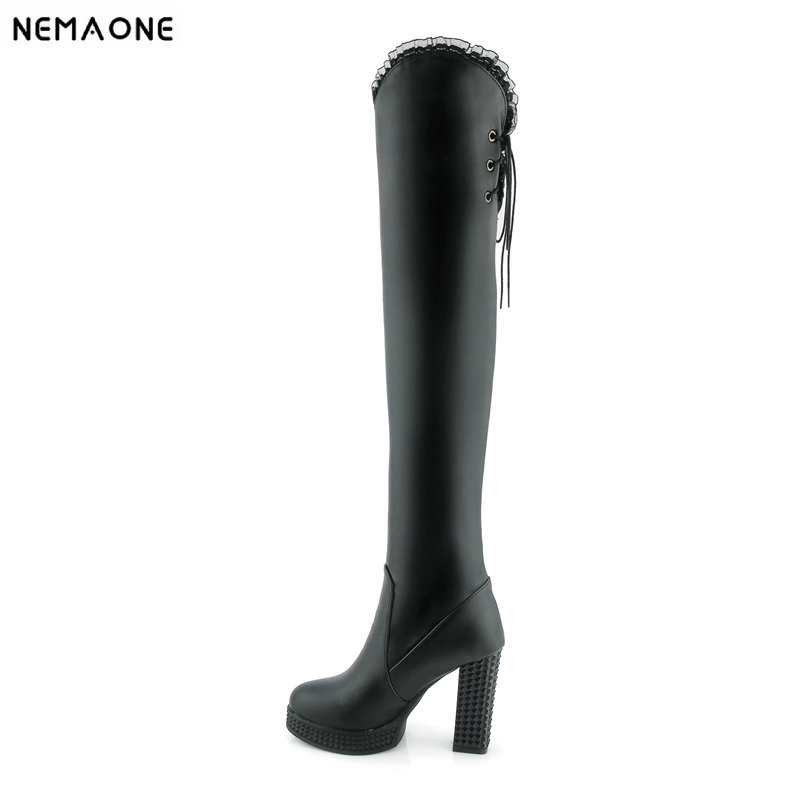 NEMAONE Sexy women over the knee boots high heels platform round toe ladies boots black white winter shoes woman big size 43 meotina women boots high heels thigh high boots winter sexy over knee boots ladies autumn shoes black white shoes big size 10 43