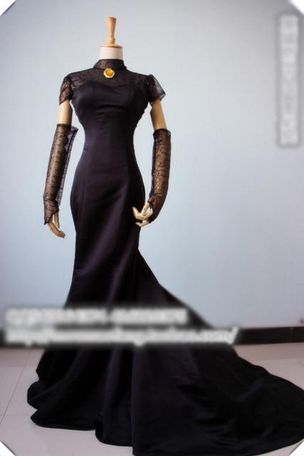 Hotel Transylvania Mavis Cosplay Costume Black Wedding Dress Crown Veil Glvoes