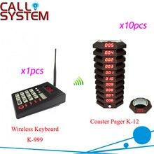 Ресторан пейджер Беспроводной подкачки системы очередей 1 клавиатура 10 приемник