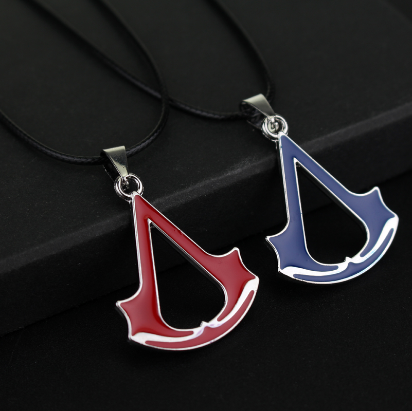 rongji jewelry Movie Assassins Creed Torque Necklace Pendant blue and red rope chain Jewelry Factory outlet for Mothers Day