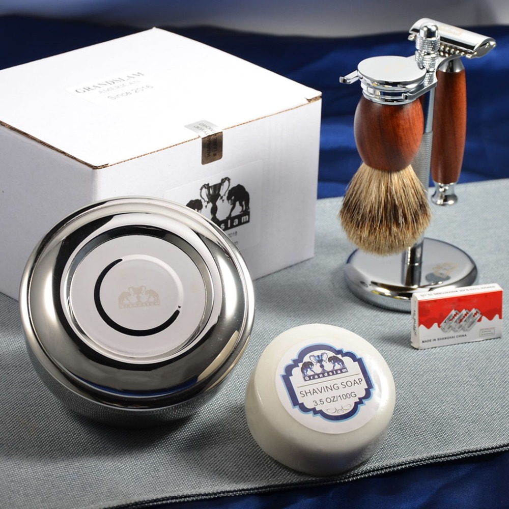 Grandslam Shaving Set Double Edge Safety Shaving Razor Men Badger Hair Brush Wood Stand Mug Cream
