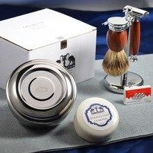 Grandslam גילוח סט כפול קצה בטיחות גילוח גירית שיער מברשת עץ Stand ספל קרם קערת סבון ערכת הטוב ביותר גברים מתנה