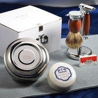 Grandslam Shaving Set Double Edge Safety Shaving Razor Men Badger Hair Brush Wood Stand Mug Cream Bowl Soap Kit Best Men gift