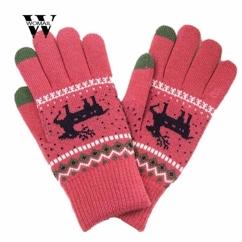 Aus Dem Ausland Importiert Neue Mode Winter Frauen Mädchen Weihnachten Elch Handgelenk Finger Hand Winter Handschuhe Wärmer Erstaunliche Warme Winter Druck Handschuhe Modische Und Attraktive Pakete