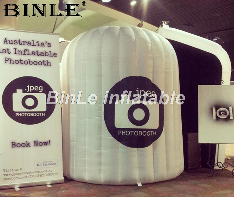 Advertising foldable led inflatable photo booth small mobile lighting circle photobooth for wedding decoration