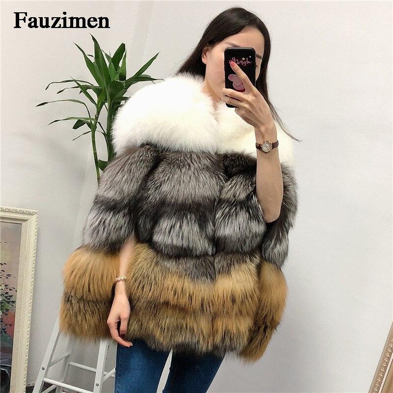 Real Fox Fur Coat Women Winter Jacket  Windbreaker Natural Fur Poncho Golden Fox Fur Jacket Overcoat Ladies Fashion Furs